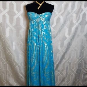 Gorgeous strapless turquoise and gold lame grown